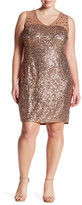 Marina Sleeveless Illusion Embellished Dress (Plus Size)