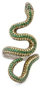 Lynn Ban - Snake Lab-sapphire & Rhodium-plated Ring - Green