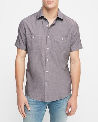 Express Slim Short Sleeve Cotton-Blend Shirt