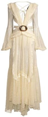 PatBO Long-Sleeve Fringe Beach Dress