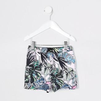 River Island Mini boys pink leaf printed swim shorts