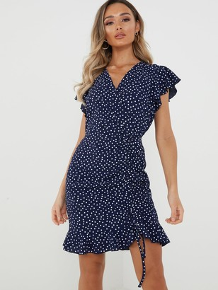 Quiz Spot Wrap Front Dress - Navy