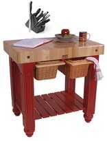 John Boos CU-GB3624-BN Barn Red Gathering Block 36 x 24 Table and Henckels 13-piece Knife Block Set