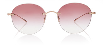 Oliver Peoples Marlien Round-Frame Metal Sunglasses