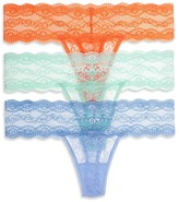 B.Tempt'd Lace Kiss Thongs, Set of 3 #976282
