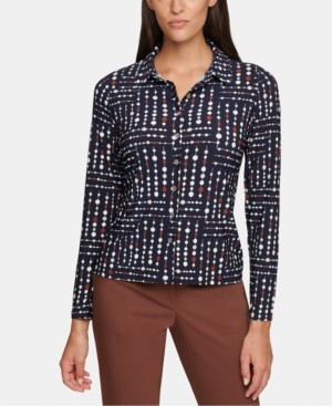 Tommy Hilfiger Geo-Dot-Print Button-Front Top