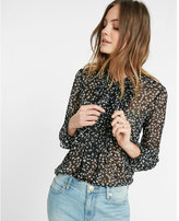 Express floral tie-neck chiffon blouse