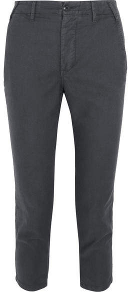 The Great The Miner Cropped Twill Straight-leg Pants - Anthracite