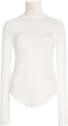 FRANCES DE LOURDES Women's Lucie Cashmere-Silk Turtleneck Top - Black/white - Moda Operandi