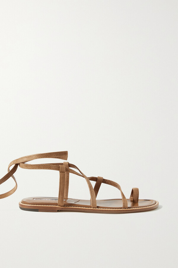Thumbnail for your product : Manolo Blahnik Primathi Lace-up Suede Sandals - Brown