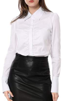Unique Bargains Women's Button Down Long Sleeves Slim Fit Casual Work Ruched Shirt
