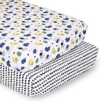 Ps By Peanutshell PS by The Peanutshell 2 Pack Safari Party & Chevron Fitted Crib Sheets