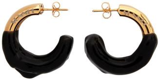 Sunnei Gold and Black Rubberized Triple Hoop Earrings
