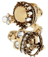Alexander McQueen King and Queen skull-embellished ring