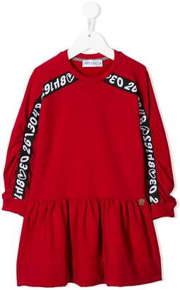 Simonetta logo-stripe gathered dress