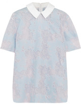Carven Cotton Twill-trimmed Lace Blouse - Blue