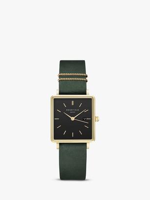 ROSEFIELD QBFGG-Q031 Women's The Boxy Date Leather Strap Watch, Green/Black