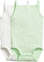 H&M 2-pack Bodysuits - Mint green/dotted - Kids