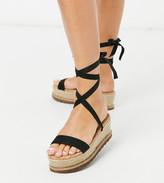 Asos Design DESIGN Wide Fit Winnie tie leg espadrille flatforms in black