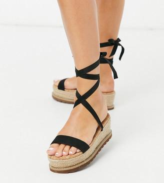 ASOS DESIGN Wide Fit Winnie tie leg espadrille flatforms in black