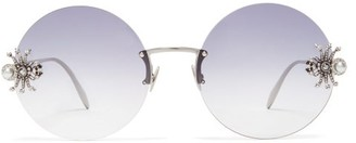 Alexander McQueen Crystal & Faux-pearl Spider Round Metal Sunglasses - Womens - Black