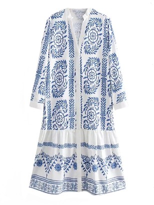 Goodnight Macaroon 'Mon' Bohemian Printed Embroidery Button Down Dress