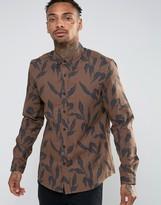 Asos Regular Fit Leaf Print Shirt In Brown