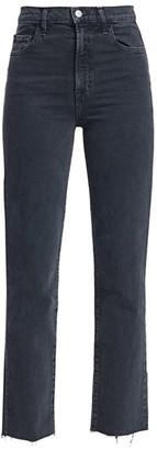 J Brand Jules High-Rise Frayed Hem Straight Jeans