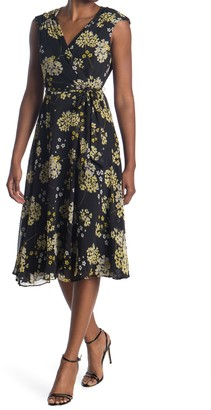 London Times Ruched Shoulder Floral Wrap Style Dress