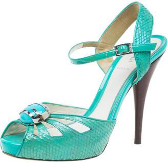 Fendi Turquoise Python Embossed Slingback Platform Sandals Size 39