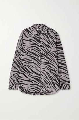L'Agence Nina Zebra-print Silk-voile Shirt - Gray