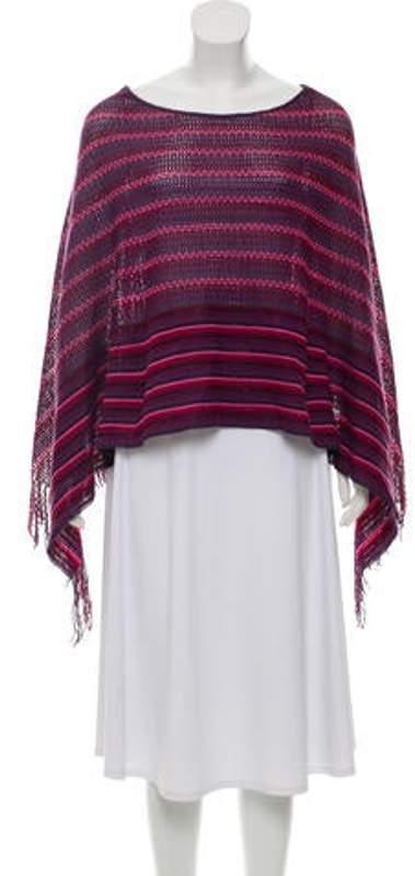 Missoni Striped Fringe-Trimmed Poncho Violet Striped Fringe-Trimmed Poncho