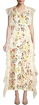 Tory Burch Floral-Embroidered Ruffle Lace-Eyelet Silk Organza A-Line Dress
