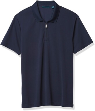 Perry Ellis Men's Ribbed Zip Polo