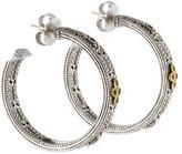 Judith Ripka Two-Tone Sapphire Hoop Earrings
