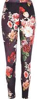 River Island Womens Black floral print scuba leggings