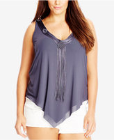 City Chic Trendy Plus Size Fringe-Trim Top