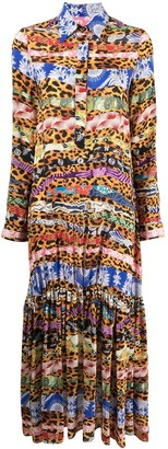 Stella Jean Mix-Print Maxi Shirt Dress