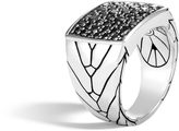 John Hardy Men's Modern Chain Signet Ring in Sterling Silver with Black Sapphire