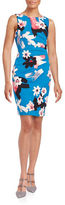 Ivanka Trump Plus Pleated Floral Sheath Dress
