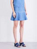 Sandro Embellished flared woven mini skirt