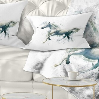White Horse East Urban Home in Motion on White Animal Lumbar Pillow East Urban Home