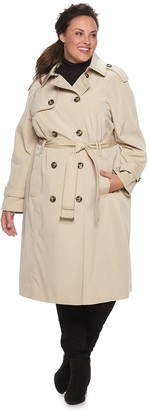 Plus Size TOWER by London Fog Double-Breasted Belted Trench Coat