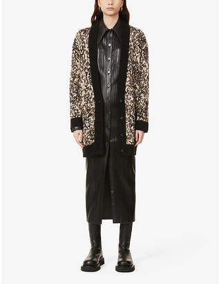 The Kooples Abstract-print oversized V-neck knitted cardigan