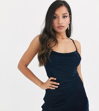 Asos DESIGN Petite cami mini slip dress in velvet with lace up back-Navy