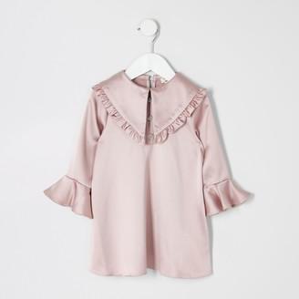 River Island Mini girls Pink satin frill collar dress