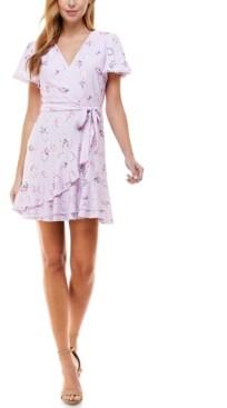 City Studios Juniors' Floral-Print Eyelet Flutter-Sleeve Dress