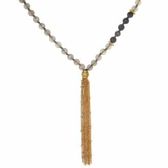 Satya Jewelry Women's Grey Agate Dumortierite Gold Sun & Moon Chain Tassel Mala Necklace (32-Inch)