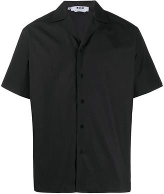 MSGM Slogan Embroidered Short Sleeve Shirt