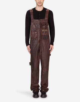 Dolce & Gabbana Leather Dunagrees With Multiple Pockets